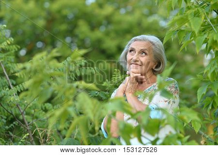 Portrait of a senior woman in summer park