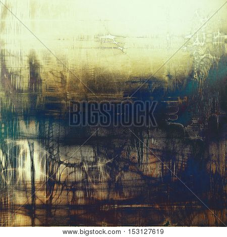 Sharp textured background, aged vintage backdrop with grungy style elements and different color patterns: yellow (beige); brown; blue; black; white