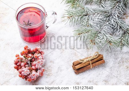 Hot Mulled Wine On The Background Of Snow