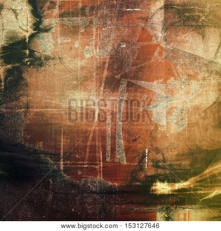 Damaged retro texture with grunge style elements and different color patterns: yellow (beige); brown; gray; green; red (orange)