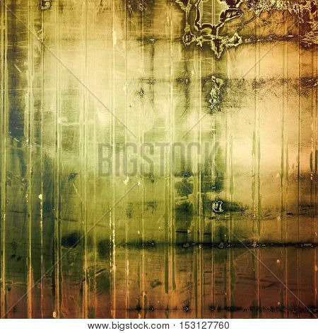 Scratched background with retro style overlay. Aged texture with different color patterns: yellow (beige); brown; gray; green