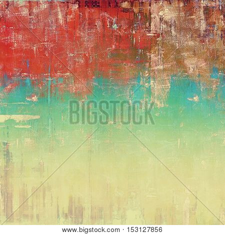 Vintage textured background with copy space. Old style backdrop with different color patterns: yellow (beige); brown; blue; red (orange); white; pink