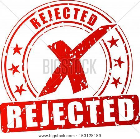 Illustration of rejected red stamp on white background