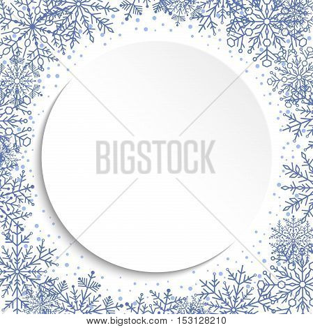 Nice vector frame with blue arabesques and snowflakes. Fine greeting card