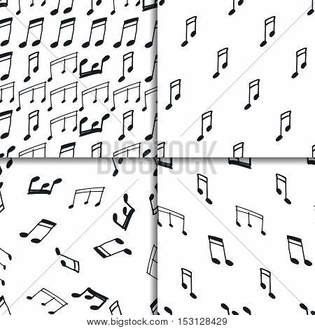 Seamless pattern set with music notes. Vector black and white backgrounds.