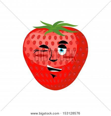 Strawberry Winks. Cheerful Fruit. Juicy Red Berry