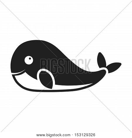 Whale icon in black style isolated on white background. Animals symbol vector illustration.
