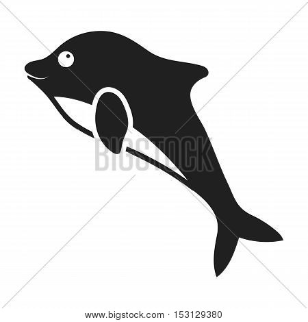 Dolphin icon in black style isolated on white background. Animals symbol vector illustration.