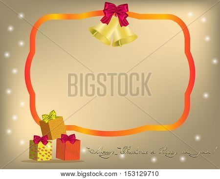 Christmas gold background with red ribbon gifts and bow