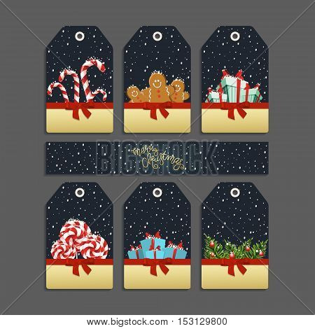 Vector set of templates for Christmas and New Year for your holiday. Labels for celebration with Gingerbread Cookies candy gifts and fir branches.