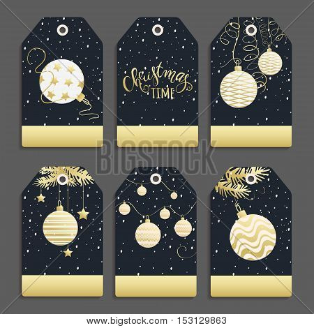 Vector set of templates for Christmas and New Year with Christmas balls. Labels for celebration for your text made in black white and gold colors .