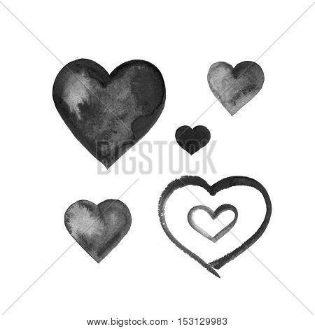 Watercolor ink hand drawn grunge black hearts set