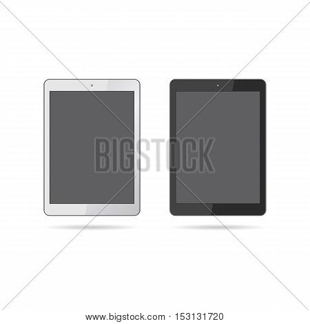 Modern realistic tablets isolated on white background. Vector illustration.