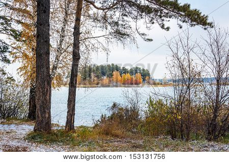 Autumn Landscape With A View Of The Island. Siberia, River Ob