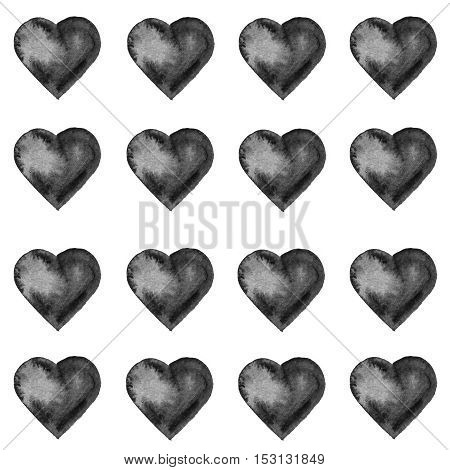 Grunge pattern with hand painted black hearts. Texture for web, print, valentines day wrapping paper, wedding invitation card background, textile, fabric, home decor, romantic gift paper