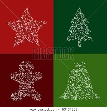 Christmas & New Year greeting card design in trendy line style. Winter Holidays vector icon & background with snowflakes for greeting cards gift package decorations. Editable