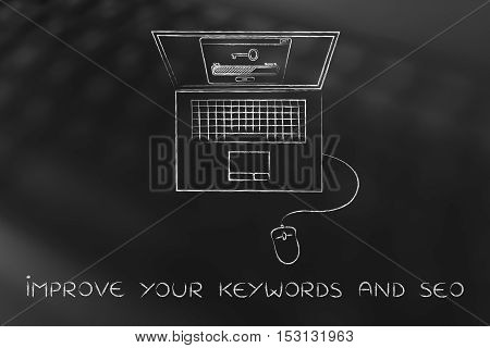 Laptop With Key On The Screen, Keywords Suggesting Tools