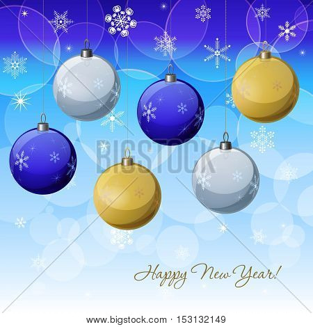 Christmas & New Year vector decoration design with blue, yellow, while baubles. Winter Holidays vector background with baubles snowflakes & lights for greeting cards gift package decorations.
