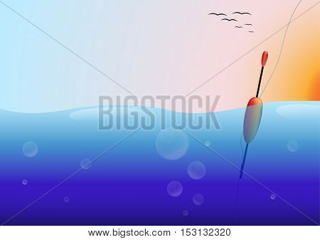 Fishing float in the water, sunset and flying birds