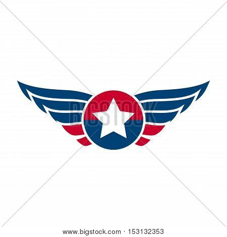 Aviation emblem, badge or logo. Military and civil aviation icon. Air force symbol. Vector stock illustration.
