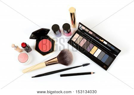 make up cosmetics isolated on white background
