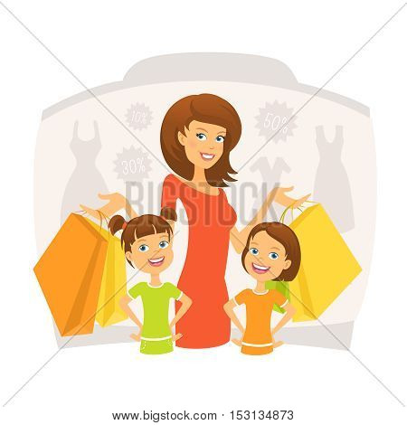 Happy woman with kids on shopping vector illustration