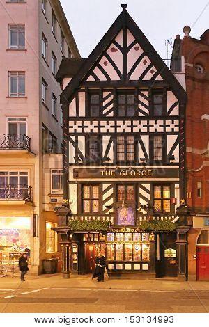 LONDON UNITED KINGDOM - NOVEMBER 19: The George Pub in London on NOVEMBER 19 2013. The George Restaurant and Pub at The Strand in London United Kingdom.