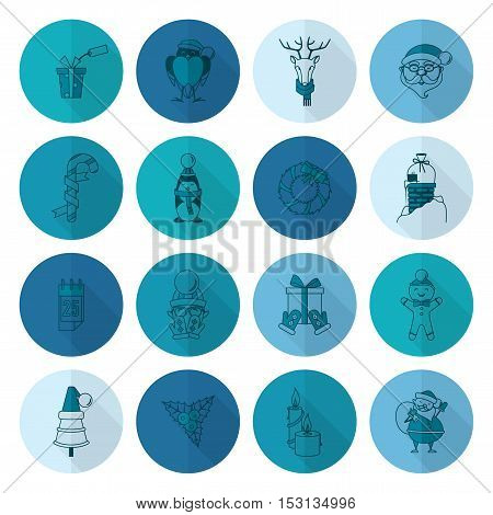 Christmas and Winter Icons Collection. Monochrome color. Long Shadow. Simple and Minimalistic Style. Vector