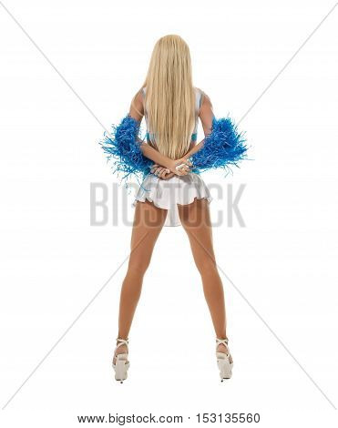 Back view of slim leggy blonde posing with pompons. Isolated on white