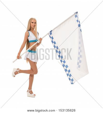 Full length photo of cute blonde with checkered flag