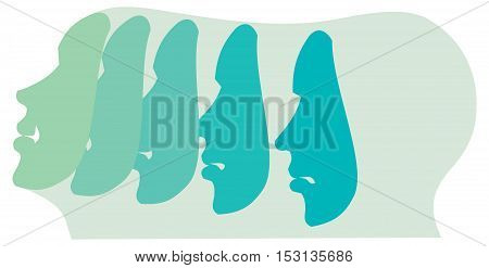 Emotion and expression masks, smile funny and angry,  illustration