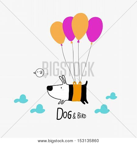 Dog & Bird flying with balloons character design