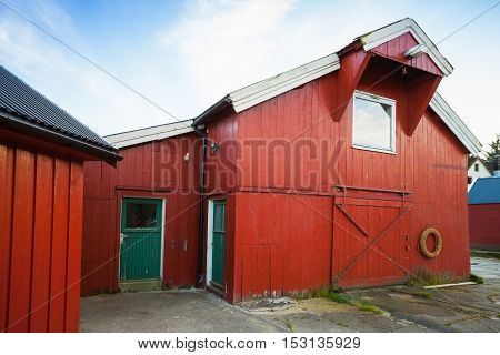 Vingvagen. Red Wooden Fishing Barns
