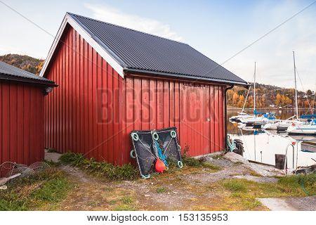 Norwegian Red Wooden Barns