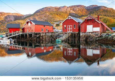 Traditional Norwegian Red Wooden Barns