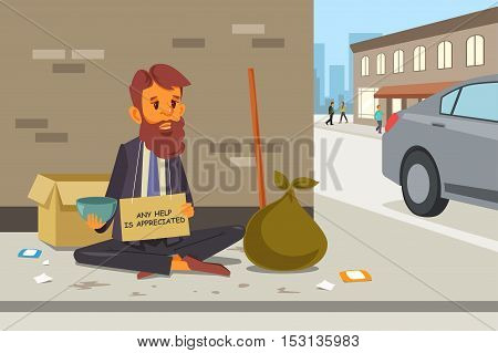 A vector illustration of Homeless Panhandler on the Street