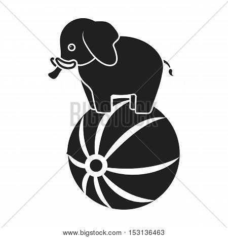 Circus elephant icon in black style isolated on white background. Circus symbol vector illustration.