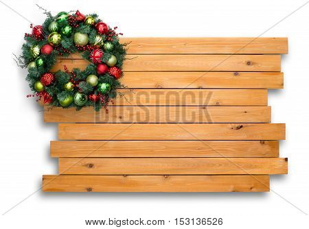 Colorful Natural Pine Christmas Wreath On Cedar