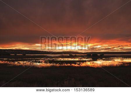 Patagonian sunset over El Calafate city, Argentina