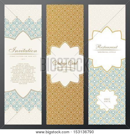 Vintage vector vertical luxury cards. Islamic set of decorative labels. Cards in ethnic style. Oriental labels and frames with space for text. Floral banner with pattern, vintage template invitation