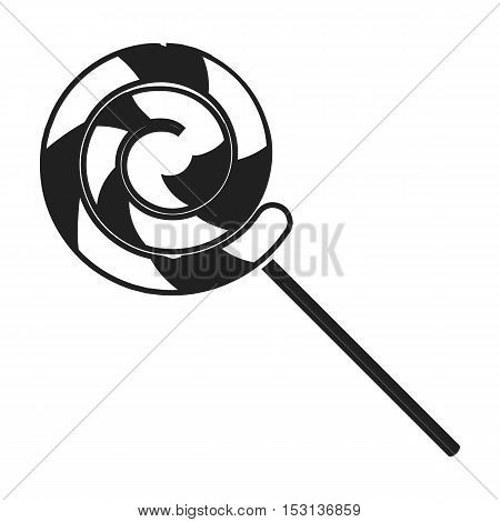 Lollipop icon in black style isolated on white background. Circus symbol vector illustration.