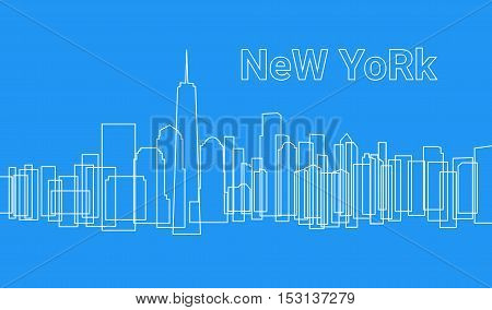 Background Modern City In A Outline Style