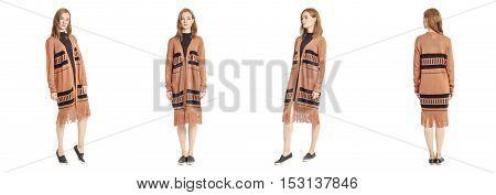 Beauty Stylish Brunette Woman Posing In Ethnic Cardigan Isolated