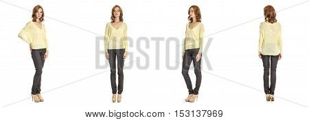 Skinny Brunette Fashion Model In Yellow Blouse Isolated On White