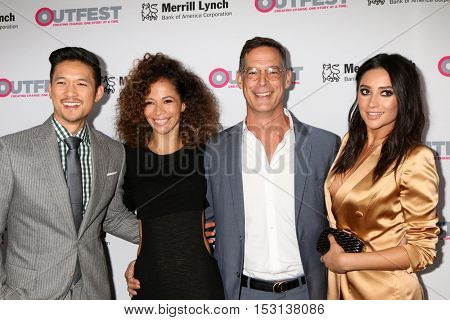 LOS ANGELES - OCT 23:  Harry Shum Jr, Sherri Saum, Tom Ascheim, Shay Mitchell at the 2016 Outfest Legacy Awards at Vibiana on October 23, 2016 in Los Angeles, CA