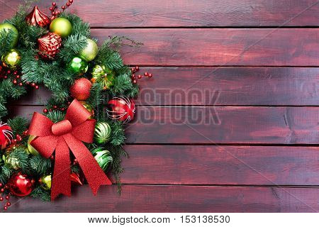 Elegant Christmas Wreath With Baubles And Bow