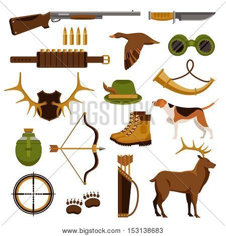 Arms and tools for shooting and hunting flat set isolated on white background vector illustration