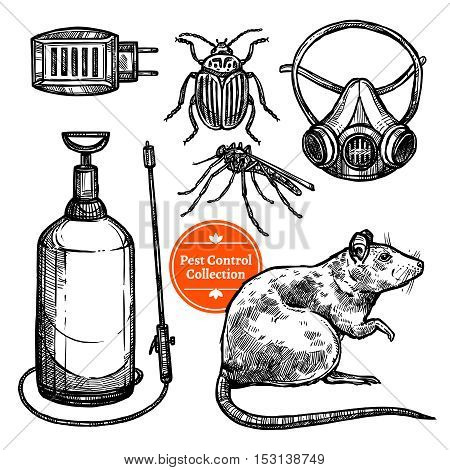 Hand drawn monocrome sketch pest control set with insects rodent and repellent isolated on white background vector illustration