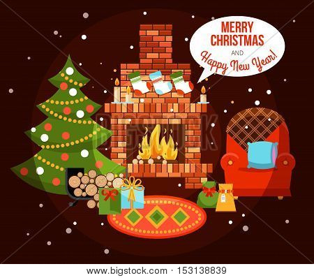 Flat design new year holiday decorated room with fireplace christmas tree and presents vector illustration