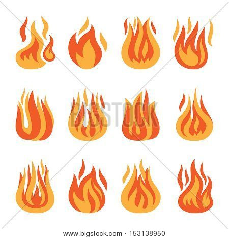 Fire icons. Vector fire flame silhouette set isolated on white background